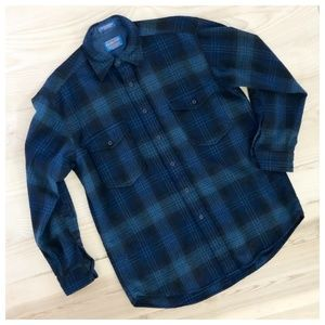 PENDLETON PLAID WOOL FLANNEL BUTTON DOWN GRN/BLUE